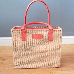 "NWOT Kate Spade ""picnic basket"" woven handbag"